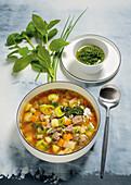 Gemüsesuppe mit Rindfleisch und Pistou