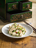 Chinese tofu with chilli and spring onions