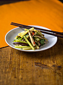 Stripes of spiced Chinese tofu with celery