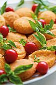 Mozzarella in carrozza (baked mozzarella bread, Italy)