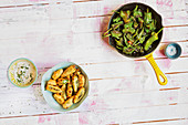 Chilli poppers and pimientos de padron (football evening)