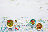 Chimichurri and tomato salsa