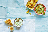 Guacamole and tzatziki for dipping