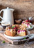 Cream cheese cake with raspberries
