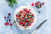 Pavlova with various berries