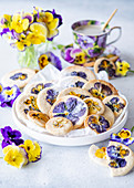 Viola cookies with sugar powder