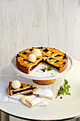 Swedish blueberry tart with vanilla ice cream