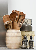 Wooden spoons in an earthenware container