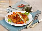 Oven-baked breaded mozzarella toast escalopes