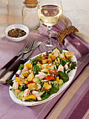 Avocado and smoked trout salad with peppers