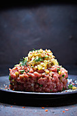 Veal tartare with apple and cucumber relish