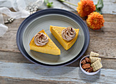Vegan pumpkin cheesecake without a base with white chocolate pecan cream