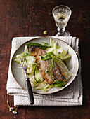 Roasted char fillet with apple and fennel salad and blood sorrel