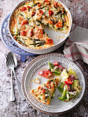 Green asparagus quiche with summer salad