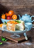 Crepe cake with orange