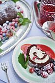Arrolato al cioccolato (chocolate sponge roll with berries, Italy)