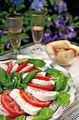 Caprese salad (tomatoes with mozzarella and basil, Italy)