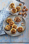 Puff pastry rolls with nuts