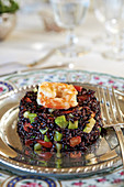 Riso venere con gamberi e verdure (black rice with shrimps and vegetables, Italy)