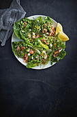 Quinoa, broad bean, salmon and feta salad