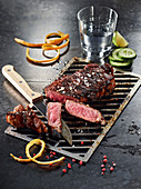 A gin and tonic strip loin steak made in a Beefer