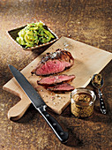 Iberico presa made in a Beefer with wild garlic and potato salad