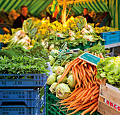 Fresh vegetables on a market stall