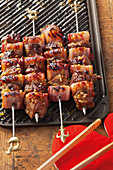 Grilled lamb and apricot skewers