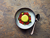 Broccoli flan on tomato ragout