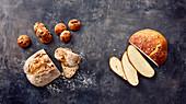 Olive rolls, a small Italian load, potato bread