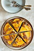 Orange cream cheese cake with walnuts