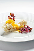 Variations of amaranth with steamed bread and pickled egg yolk