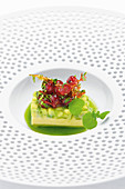 Avocado with watercress juice and redcurrant caramel