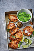 Cod fillet in a crispy tandoori coating with mushy peas and mint