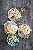 Chilli and sesame seed crackers with avocado and coconut raita
