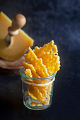Cheese chips in a glass