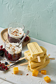 Beeren-Kompott mit Chia und Kokoscreme, Kokos-Ingwer-Eis