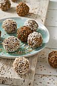 Tahini bliss balls, oat and coconut balls, and crunchy bliss balls