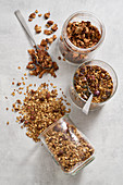 Chocolate and banana granola, nut-free granola and almond and raisin granola
