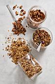 Chocolate and banana granola, nut-free granola and almond and raisin granola