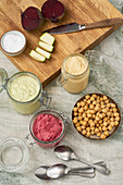 Courgette hummus, classic hummus and beetroot hummus