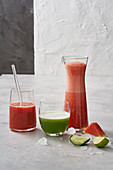 Melon and mint cooler, melon lemonade and a watermelon smoothie