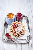 Fluffy waffles with jam
