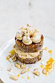 Vegan layered peanut and coconut cake