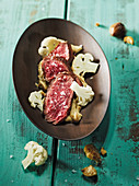 Hanger steak made in a Beefer with chestnut purée and cauliflower