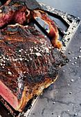 A T-bone steak made in a Beefer with coarse sea salt