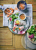 Summer rolls filled with vegetables and prawns
