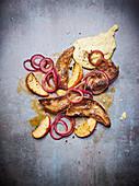 Pork liver with Jerusalem artichoke puree, apples and onions