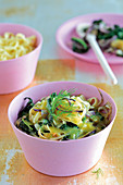 Pasta with Tuscan kale, flower sprouts and an orange and vanilla sauce