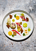 Soused herring with cucumber and variations of mustard
